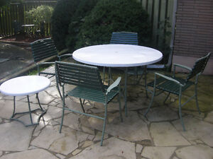 Hauser cast aluminum patio set