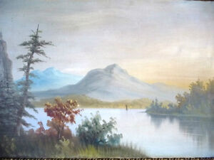 "Antique, Large Original Oil, ""Lake George"" by C. G. White Stratford Kitchener Area image 2"