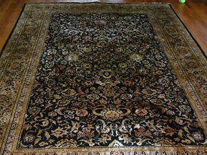 Tapis persan en vraie soie tissé main, 9'x6', une rare merveille