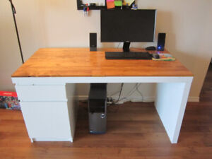 Large Computer Desk - From Ikea with added Wood Top