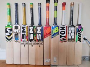 Cricket bats and equipment