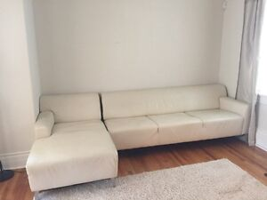 LIND Designer White Leather Sofa Sectional