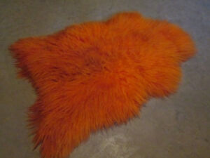 Orange Shag Real Fur Pelt Rug