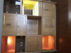 Display- multiply storage cabinet with glass doors