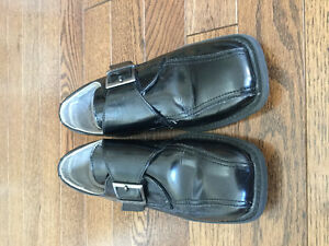 BOYS BLACK LEATHER DRESS SHOES