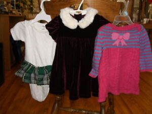 3 Baby Girl Dresses/outfits 6-12 months