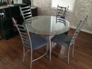Glass And Metal Table with 4 Chairs