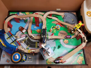 Kidkraft Super Highway train set, table, and accessories