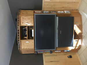 """Oak TV stand with older 48"""" TV"""