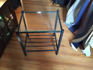 Black metal and glass side or bedside table