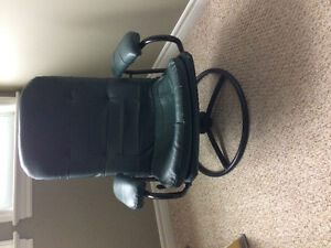 Green leather recliner & stool
