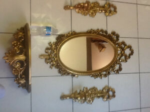 Set Gold fancy syroco 4pc wall mirror/shelf/sconces