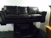 As new dark brown leather 3 and 1 sofa set