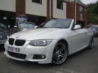 2011 61-Reg BMW 320d M Sport Convertible,GEN 48,000 MILES,RARE PEARL WHITE!!!