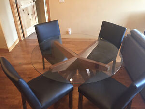 NEW glass table and leather chairs