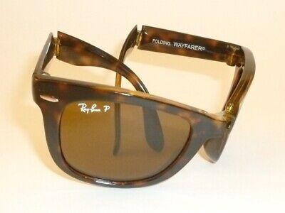 New  RAY BAN  FOLDING  WAYFARER  Tortoise Frame  RB 4105 710/57  Polarized Brown
