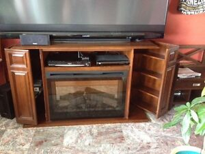 Solid Oak TV Stand/Fireplace