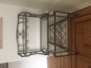 Metal And Glass Side Table with Wine Rack