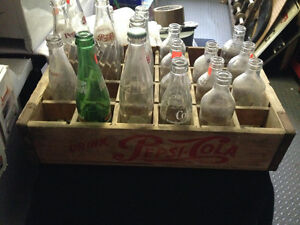 VINTAGE PEPSI-COLA WOODEN CASE + ASSORTED COKE COCA-COLA BOTTLES