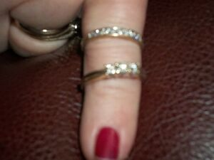 wedding band and diamond ring