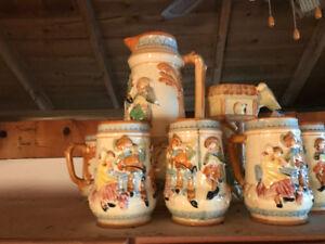 "Antique ""made in Japan"" beer steins. Ceramic"