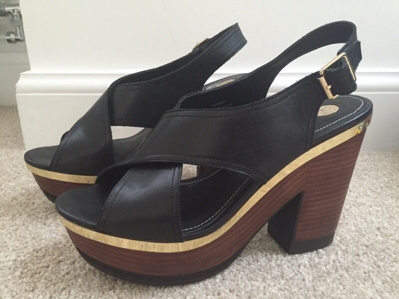 227a12152367 RIVER ISLAND ladies black leather wedge shoes sandals - size 5