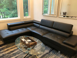 Complete Room - Black Sectional, Blue Area Rug and and Endtable