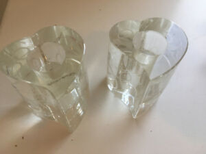 pair of Crystal candle holders- love story - valentine gift