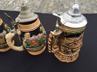 5 vintage west German Stein beer tankards job lot