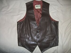 mens brown soft leather vest size small