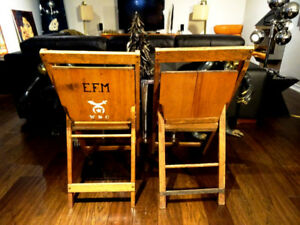 salvaged SHRINERS antique lodge chairs FOLDING oak Fraternal