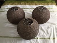 Set of 3 woven ball ceiling pendant shades