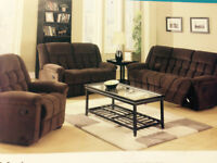 BRAND NEW MICRO SUEDE 3 PC 5 RECLINING SOFA, LOVE SEAT AND CHAIR