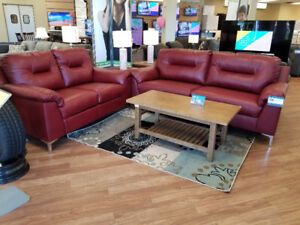 Red Leather Sofa and Love seat NEW