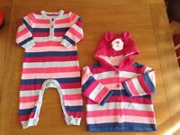 MOTHERCARE 3-6 months one piece & matching jacket in excellent condition