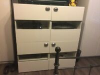 2 TV CABINETS SEEN HERE TOGETHER BUT CAN SPLIT BOUGHT FROM IKEA REMOTES WORK THROUGH GLASS £40 EACH