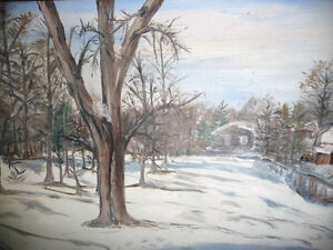 "Original Oil Painting ""Winter's Day By The Stream"" Stratford Kitchener Area image 4"