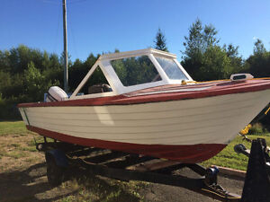 Fiberglass boat with trailer & engin