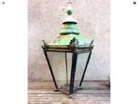 2 Large Copper Victorian Lamp Post Tops One & Glass Shade Lantern Architectural Style