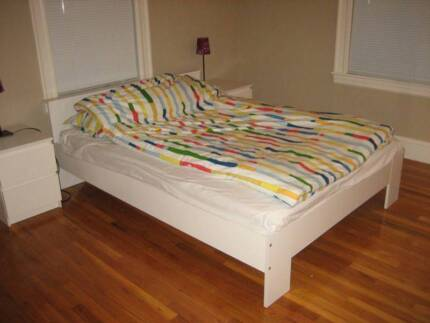 white ikea wooden double size bed with mattress, can delivery at Box Hill Whitehorse Area Preview