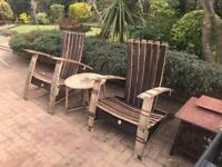 Handmade Whiskey Barrel Oak Garden Furniture