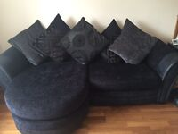 Dfs black settee with large swivel chair for sale!