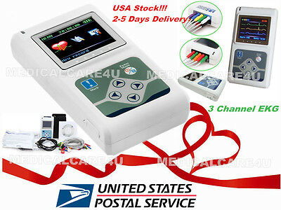Usa Sellerecg Ekg Holter 24 Hours Recorder 3 Channel 12 Lead Analyzer Software