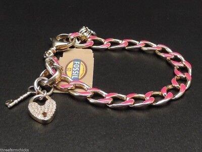 - Fossil Goldtone Pink Enamel Charm Bracelet Pave Crystal Heart Charm New! NWT