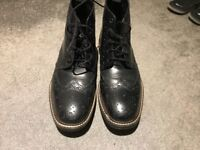 NEXT black leather Brogue Boots size 9