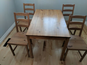 dining table and 4 chairs (ikea jokkmokk)
