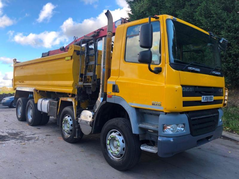963984d77b 2008 DAF CF 85.410 8x4 Thompson steel tipper HMF 1244 crane grab