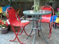 Retro Red Patio chairs
