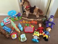 Job lot of boys toddle toys inc rocking horse teletubbies leapfrog vtech fisher price