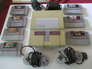 Super Nintendo Game System & 7 Games 1992 & 1992 Made in Japan